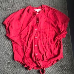 Short Sleeved Red Tie Front Blouse from Lovestitch